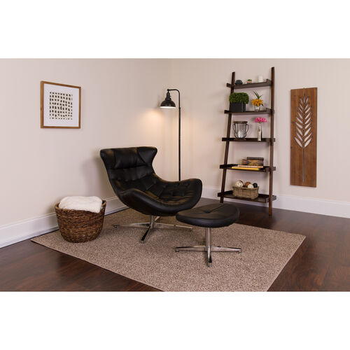 Our Black Leather Cocoon Chair with Ottoman is on sale now.