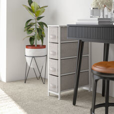 Narrow 4 Drawer Vertical Storage Unit Dresser, Organizer with steel frame, wood top and easy pull fabric drawers - White/Gray