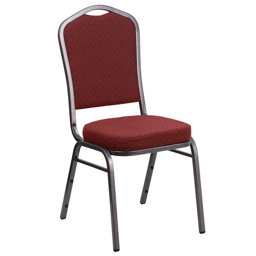 Our HERCULES Series Crown Back Stacking Banquet Chair in Burgundy Patterned Fabric - Silver Vein Frame is on sale now.