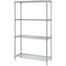 "4-Shelf Adjustable Wire Shelving Unit with Chrome Finish - 300 lb. Load Capacity per Shelf - 48""W x 24""D x 72""H"