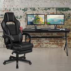 BlackArc Black Gaming Desk with Cup Holder/Headphone Hook/Removable Mousepad Top & Black Reclining Back/Arms Gaming Chair with Footrest