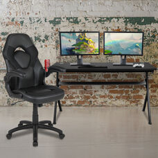 BlackArc Black Gaming Desk and Black Racing Chair Set with Cup Holder, Headphone Hook and Removable Mouse Pad Top - 2 Wire Management Holes