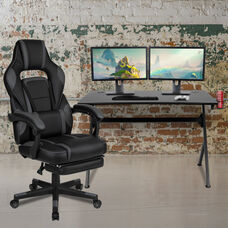BlackArc Black Gaming Desk with Cup Holder/Headphone Hook/2 Wire Management Holes & Black Reclining Back/Arms Gaming Chair with Footrest