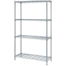 "4-Shelf Adjustable Wire Shelving Unit with Chrome Finish - 300 lb. Load Capacity per Shelf - 48""W x 24""D x 72""H"