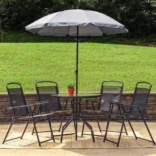 Patio table, chairs, and umbrella on patio