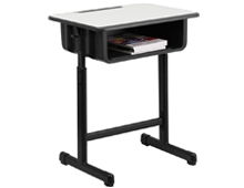 classroom student desk with book box