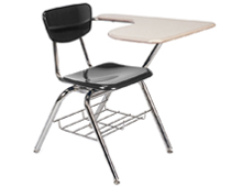 plastic stacking classroom chair with table arm