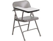 steel folding chair with tablet arm