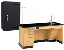 science lab workstation and storage cabinet