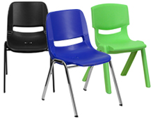metal and plastic classroom chairs
