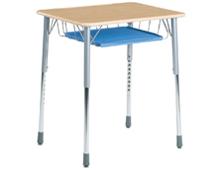 classroom student desk with book basket
