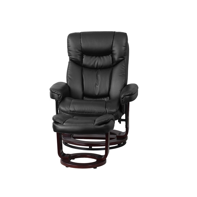 Contemporary Multi Position Recliner And Curved Ottoman
